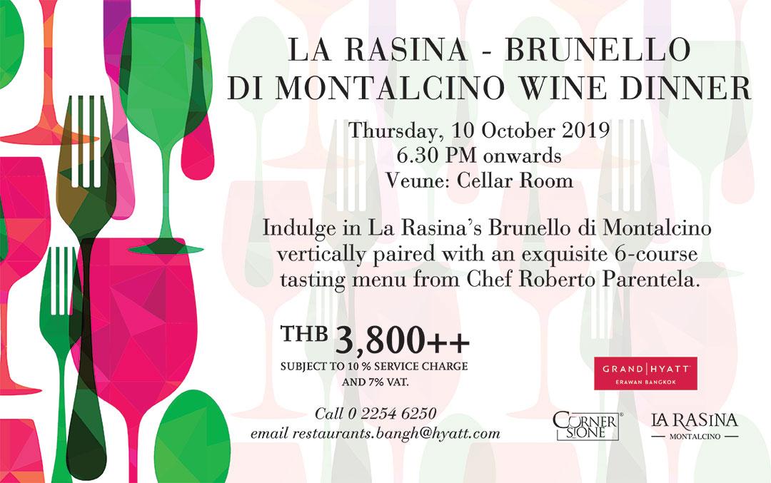 La Rasina's Brunello di Montalcino Tuscany Wine Dinner imported directly from Italy